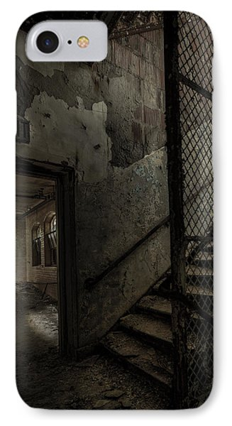 Stairs And Corridor Inside An Abandoned Asylum IPhone Case by Gary Heller