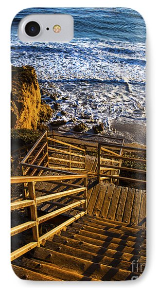 IPhone Case featuring the photograph Steps To Blue Ocean And Rocky Beach by Jerry Cowart