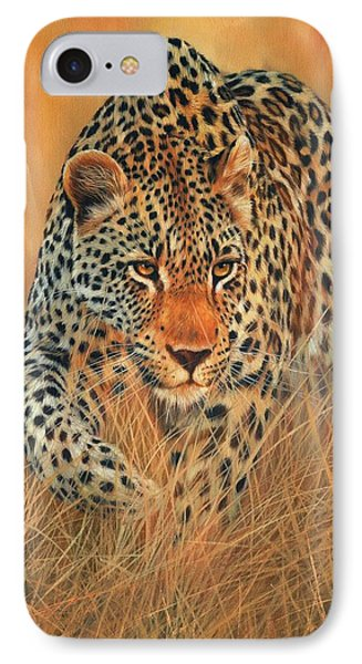 Stalking Leopard IPhone Case by David Stribbling