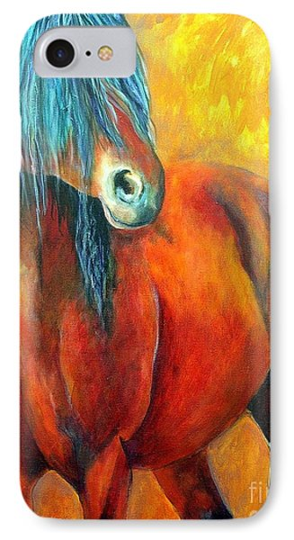 IPhone Case featuring the painting Stallions Concerto  by Alison Caltrider