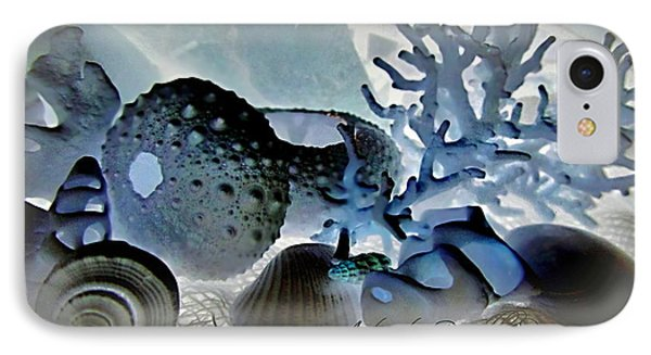 Stamp Seashells In Blue  Phone Case by Danielle  Parent