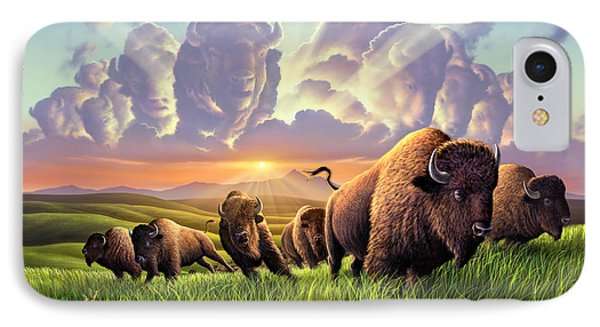 Bison iPhone 7 Case - Stampede by Jerry LoFaro