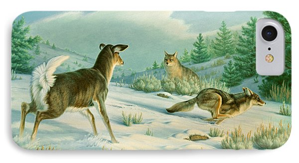 Stand-off  -whitetail Doe And Coyotes IPhone Case by Paul Krapf