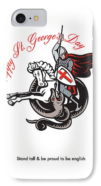 Stand Tall Proud English Happy St George Stand Retro Poster Phone Case by Aloysius Patrimonio