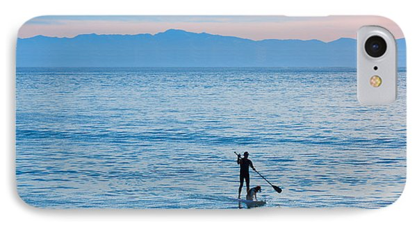 Stand Up Paddle Surfing In Santa Barbara Bay California IPhone Case by Ram Vasudev