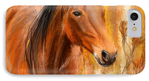 Standing Regally- Bay Horse Paintings IPhone Case