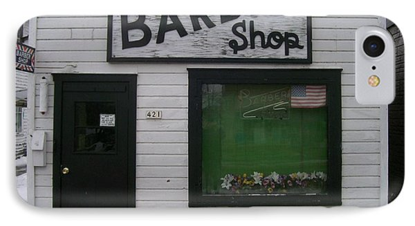 IPhone Case featuring the photograph Stans Barber Shop Menominee by Jonathon Hansen