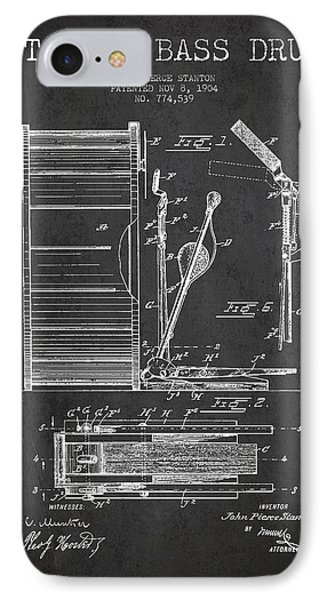 Folk Art iPhone 7 Case - Stanton Bass Drum Patent Drawing From 1904 - Dark by Aged Pixel