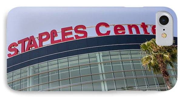 Staples Center Sign In Los Angeles California Phone Case by Paul Velgos