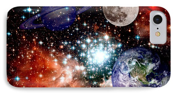 Star Field With Planets Phone Case by J D Owen