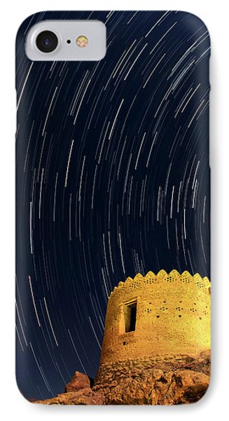 Star Trails Over Ancient Watchtower IPhone Case