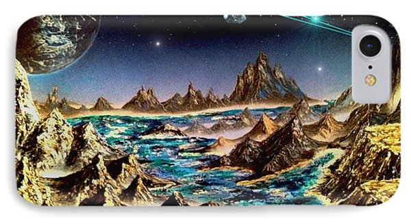 IPhone Case featuring the painting Star Trek - Orbiting Planet by Michael Rucker