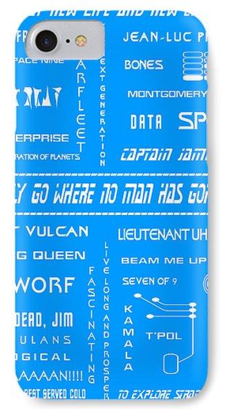 Star Trek Remembered In Blue IPhone Case by Georgia Fowler