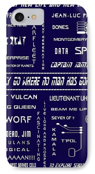 Star Trek Remembered In Navy Blue IPhone Case by Georgia Fowler