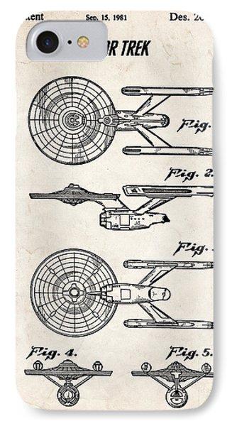 Star Trek Uss Enterprise Patent Art IPhone Case by Stephen Chambers