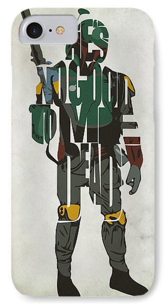 Star Wars Inspired Boba Fett Typography Artwork IPhone Case by Ayse Deniz