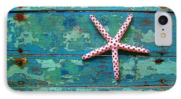 Seashore Peeling Paint - Starfish And Turquoise IPhone Case by Rebecca Korpita