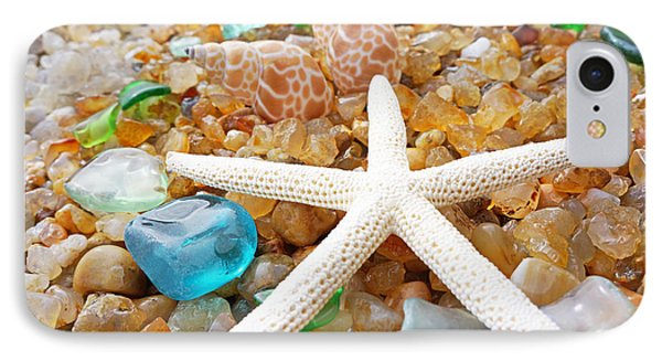 Starfish Art Prints Shells Agates Coastal Beach IPhone Case by Baslee Troutman