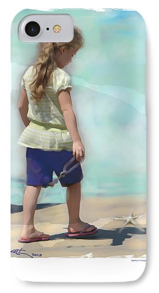 IPhone Case featuring the painting Starfish In The Sand by Bob Salo