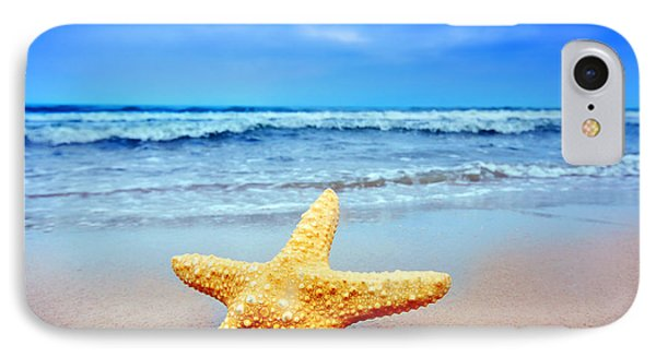 Starfish On A Beach   IPhone Case by Michal Bednarek