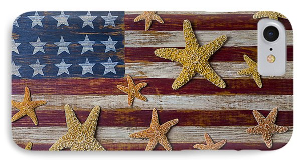 Starfish On American Flag IPhone Case by Garry Gay