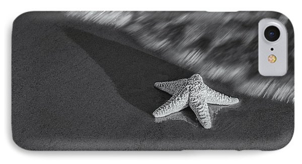 Starfish On The Beach Bw IPhone Case by Susan Candelario