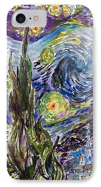 IPhone Case featuring the painting Starry Night After Vincent Van Gogh by Ginette Callaway