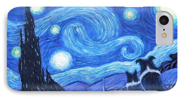 Starry Night Border Collies IPhone Case by Fran Brooks