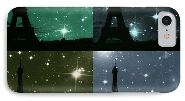 Starry Night - Eiifel Tower Paris IPhone Case by Marianna Mills