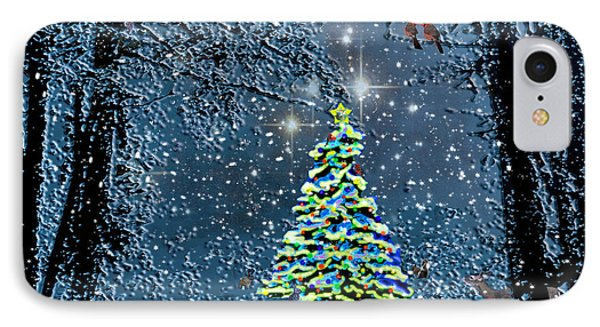 Starry Night Forest Christmas IPhone Case by Michele Avanti
