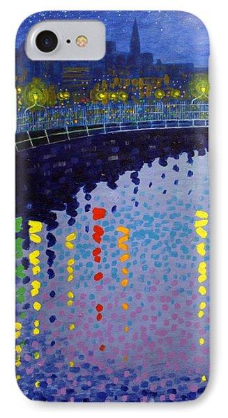 Starry Night In Dublin Half Penny Bridge Phone Case by John  Nolan