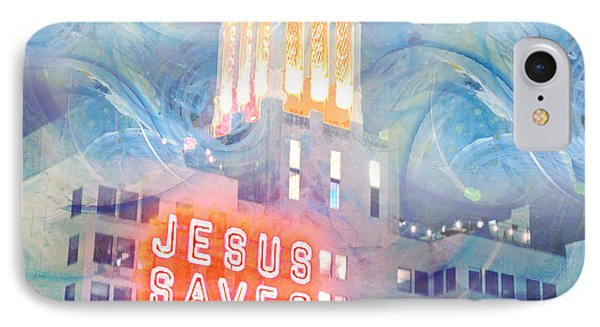 IPhone Case featuring the painting Starry Night Indowntown La by John Fish