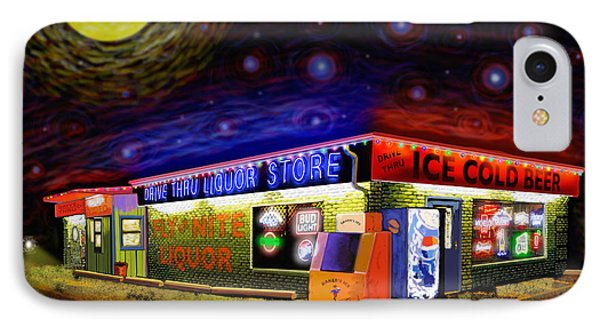 Starry Starry Fly By Nite Drive Thru Liquor Store IPhone Case by Robert FERD Frank