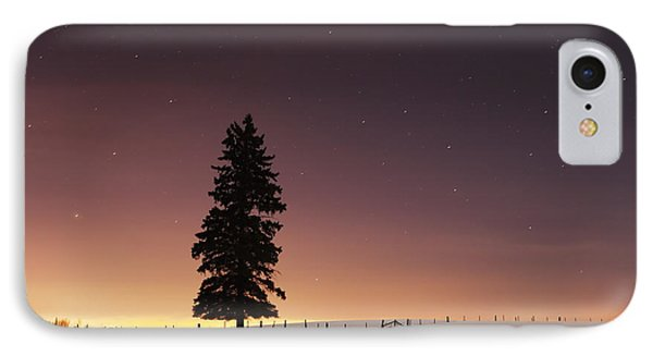 Stars In The Night Sky With Lone Tree Phone Case by Susan Dykstra