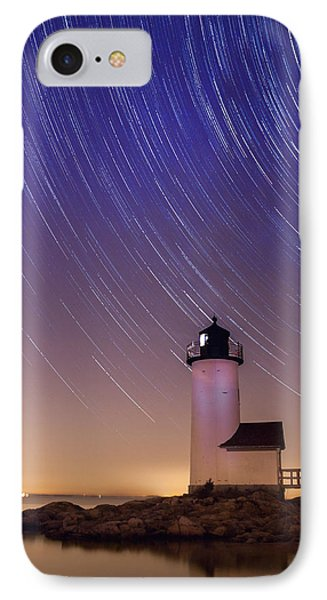 IPhone Case featuring the photograph Stars Trailing Over Lighthouse by Jeff Folger