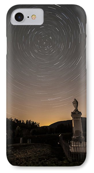 Stars Trails Over Cemetery IPhone Case by Susan Candelario