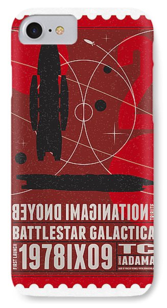 Starschips 02-poststamp - Battlestar Galactica IPhone Case by Chungkong Art