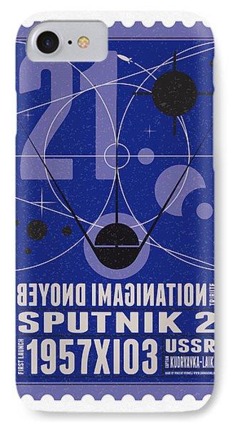 Starschips 21- Poststamp - Sputnik 2 Phone Case by Chungkong Art