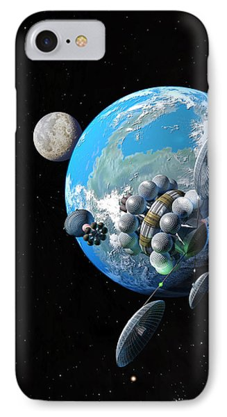 Starship At Alpha Centauri IPhone Case by Don Dixon