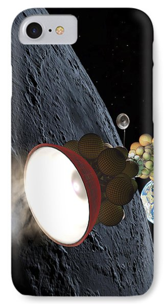 Starship Departing From Lunar Orbit IPhone Case by Don Dixon