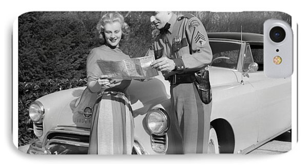 IPhone Case featuring the photograph State Patrolman Assists Young Woman Traveler 1951 by Merle Junk