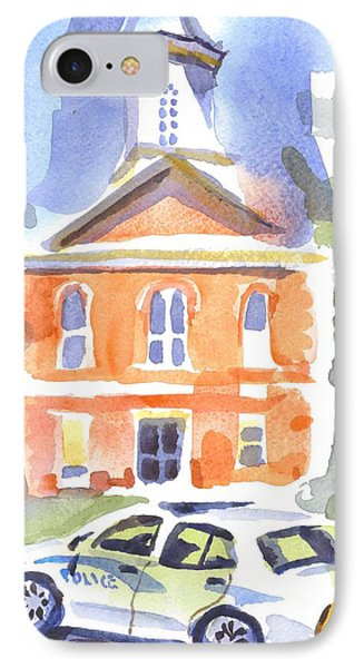 Stately Courthouse With Police Car Phone Case by Kip DeVore