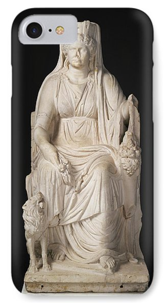 Statue Of A Seated Cybele With The Portrait Head IPhone Case by Litz Collection