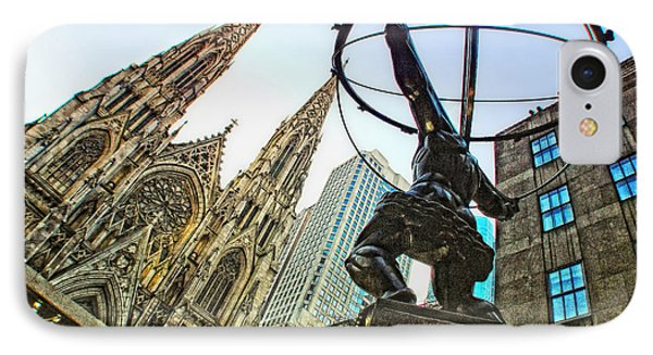 Statue Of Atlas Facing St.patrick's Cathedral Phone Case by Nishanth Gopinathan