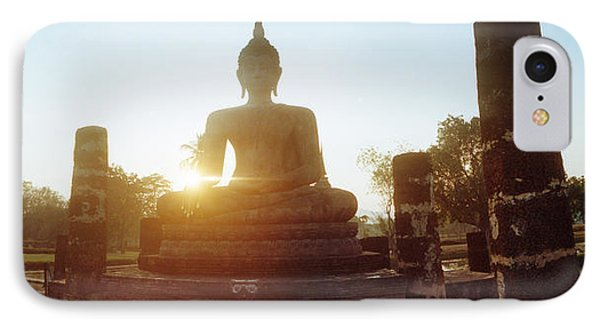 Statue Of Buddha At Sunset, Sukhothai IPhone Case by Panoramic Images