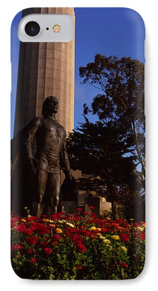 Statue Of Christopher Columbus In Front IPhone Case by Panoramic Images