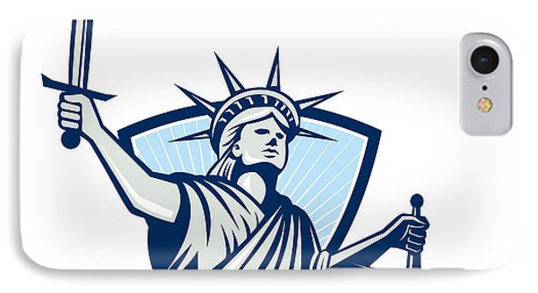 Statue Of Liberty Holding Scales Justice Sword IPhone Case