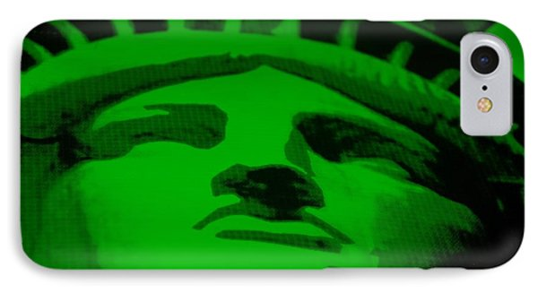 Statue Of Liberty In Green Phone Case by Rob Hans