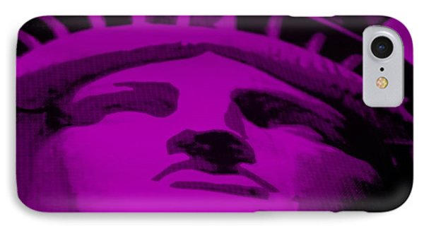 Statue Of Liberty In Purple Phone Case by Rob Hans