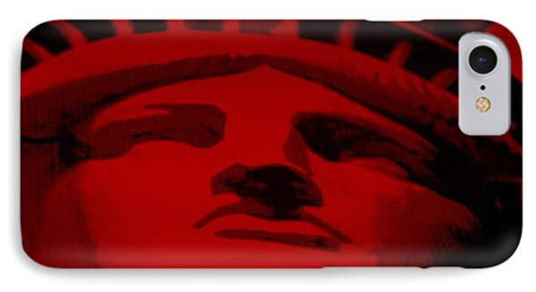 Statue Of Liberty In Red Phone Case by Rob Hans